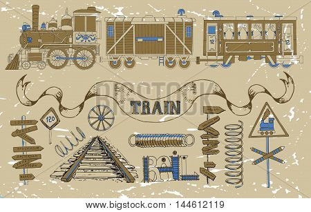 Vintage set with old train theme: locomotive, passenger and cargo wagon, road signs, springs, rails and technical details. Doodle line art illustrations with hand drawn design elements