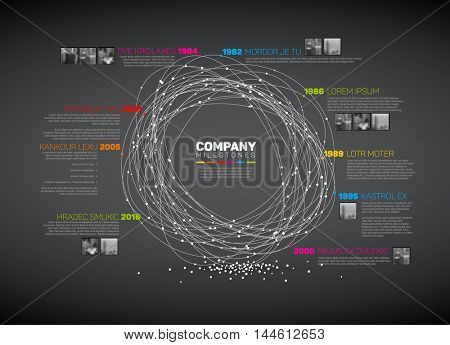 Vector Infographic abstract timeline report template with the biggest milestones, photos, years and description - dark color time line version