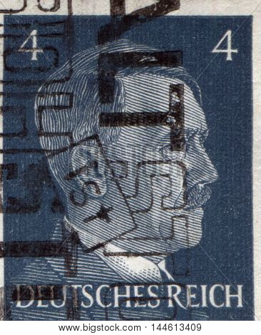 GERMANY - CIRCA 1942: A stamp printed in Germany shows portrait of Adolf Hitler, circa 1942.