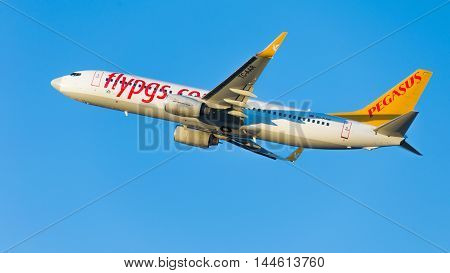 Moscow - August 20 2015: Large passenger plane Boeing 737-86N (W) Pegasus Airlines flies to Domodedovo airport and on a background of blue sky August 20 2015 Moscow Russia