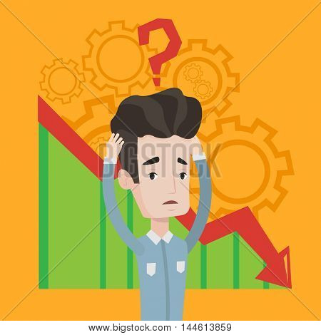 Bankrupt clutching his head on background with cogwheels and chart going down. Man with big question mark above his head. Concept of business bankruptcy. Vector flat design illustration. Square layout