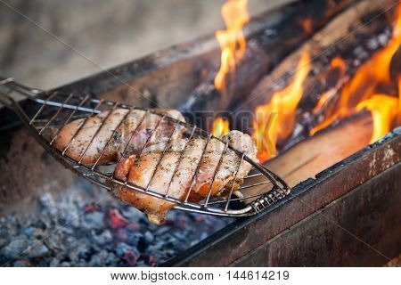 Chicken breast fillet meat shish kebab barbecue on skewers grill. Concept of lifestyle street food. Grilling traditional party picnic marinated bbq on coal ember brazier.