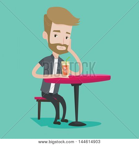 A hipster man with the beard sitting at the bar and holding cocktail glass with drinking straw. Sad man sitting alone at the bar and drinking cocktail. Vector flat design illustration. Square layout.
