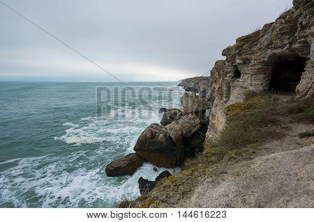 Stormy Black Sea seascape near Tyulenovo Bulgaria