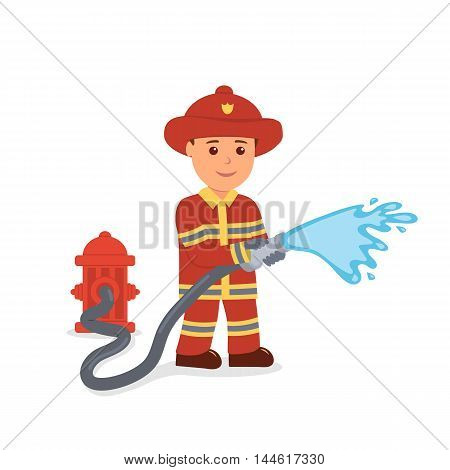 Fireman. Isolated male character in the form of firefighter. Rescuer. Cartoon vector illustration on the white background.