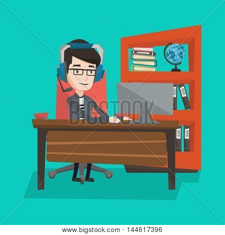 Man playing computer game. Businessman during video conference in office. Businessman with headset working on computer. Operator of call center at work. Vector flat design illustration. Square layout.