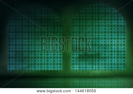 Empty Room With Green Light Background