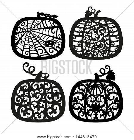 Vector halloween Jack o' Lantern pumpkin frame. Laser cutting template for greeting cards. Silhouette Design.