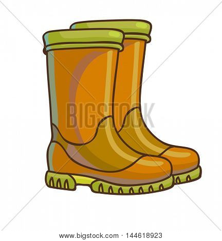 Rain boots icon. Fashion rain boots cartoon design. Vector illustration.