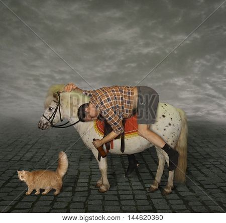 Drunk Prince rides on horseback. His cat shows the way to him.