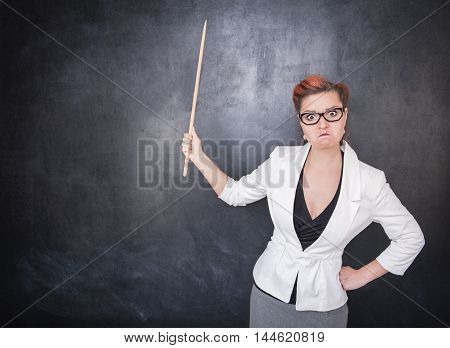 Angry Teacher With Pointer