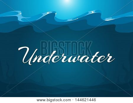 Deep blue moody underwater background. Abstract background water, vector illustration