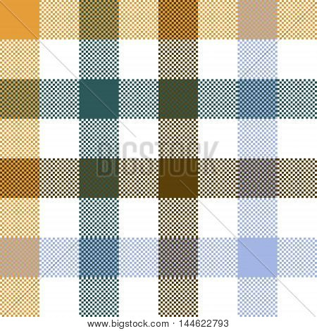 Colored check plaid seamless fabric texture. Vector illustration.