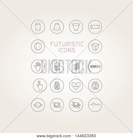 Collection Of Abstract Vector Futuristic Icons.