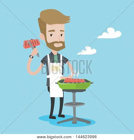 A hipster man with the beard cooking meat on the barbecue grill. Young man preparing food on the barbecue grill. Man having outdoor barbecue. Vector flat design illustration. Square layout.