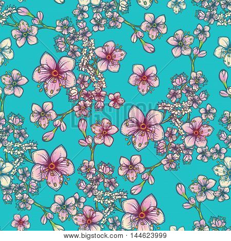 Temperate flowers seamless pattern. Meadowsweet and oak flowers. Tender delicate colors. Fresh spring floral design for textile print. Blue background. EPS10 vector illustration.