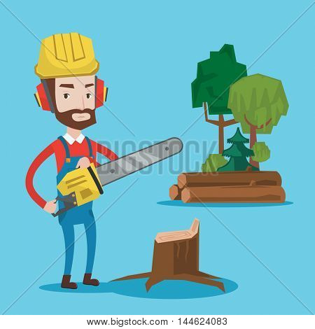 Hipster woodcutter with the beard holding chainsaw. Woodcutter in work weara, hard hat and headphones at the forest near stump. Lumberjack chopping wood. Vector flat design illustration. Square layout.