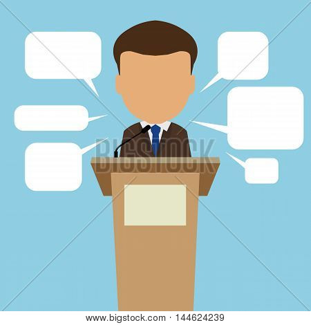 Male speaker with speech bubbles. Concept of debates, seminar or election. Politician speaker with podium. poster