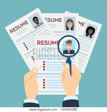 Mans resume with magnifier at the table. Cv resume concept. Finding a worker. Apply for a job. Business opportunity. Cv profile. Finding new staff.