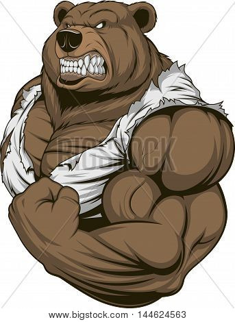 Vector illustration a ferocious bear athlete posing showing large biceps