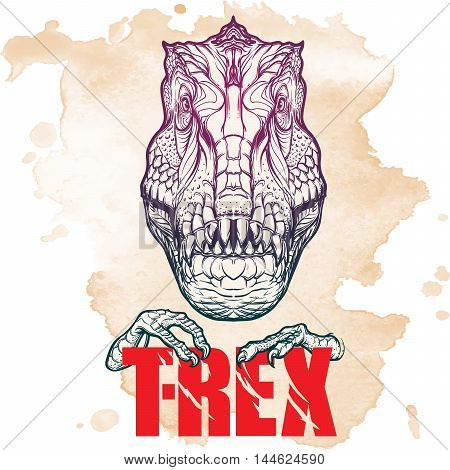 Detailed sketch style drawing of the tirannosaurus rex head. Beast holding T-Rex sign in its claws. Grunge background. EPS10 vector illustration.