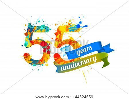 55 (fifty five) years anniversary. Vector watercolor splash paint