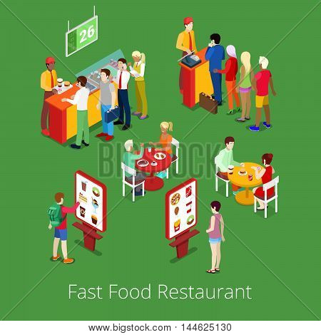Isometric Fast Food Restaurant Interior with Self-Service Terminal. Vector illustration