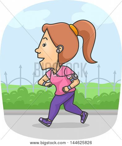 Illustration of a Woman Using a Fitness Tracker While Running