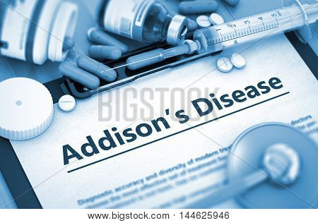 Diagnosis - Addison's Disease On Background of Medicaments Composition - Pills, Injections and Syringe. 3D.