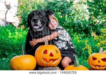 Halloween. Child Dressed In Black Near Labrador Between Jack-o-lantern Decoration, Trick Or Treat. L