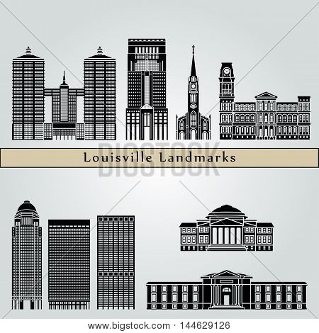 Louisville landmarks and monuments isolated on blue background in editable vector file