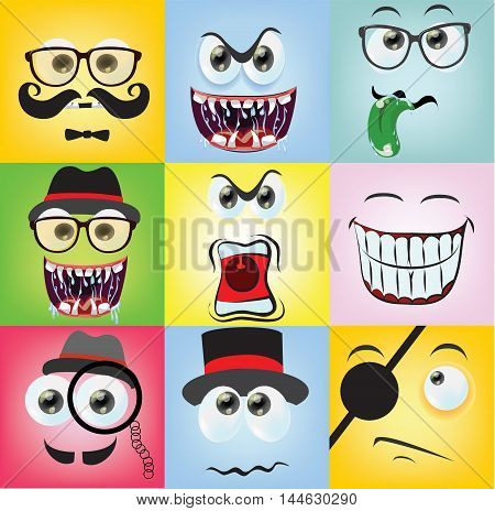 Vector Set of cartoon faces with different emotions
