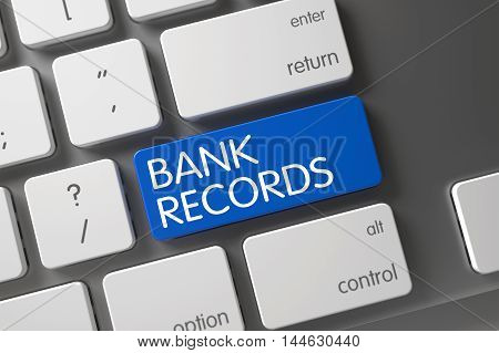 Concept of Bank Records, with Bank Records on Blue Enter Button on Modern Laptop Keyboard. 3D Render.
