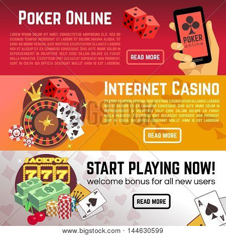 Poker online gaming lottery internet casino vector banners set. Start playing now, roulette and dice illustration