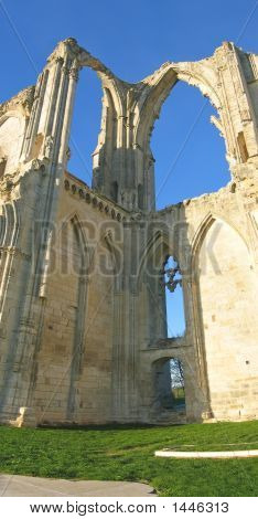 Vertical Panoramique Of The Maillezais French Abbey, France, Vertical Panorama