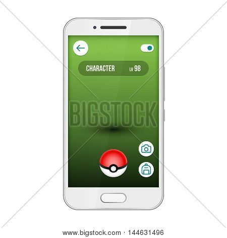 Game app screen pokemon smartphone interface. Go, find and catch cute monsters. Mobile popular game application. Vector illustration