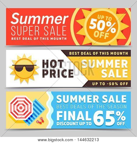 Super sale summer banners vector set with beach background umbrella, waves and sun