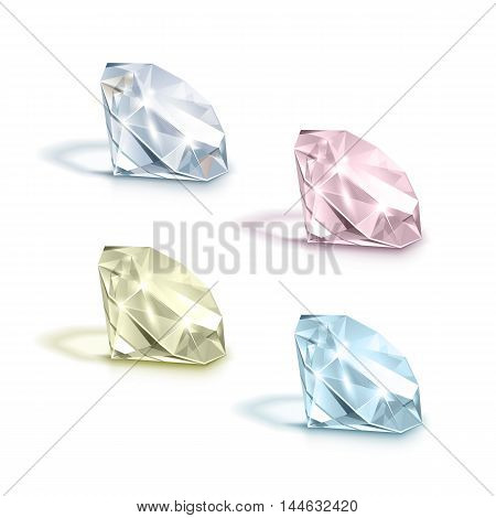Vector Set of Colored Light Blue Pink Yellow and White Shiny Clear Diamonds  Isolated on White Background