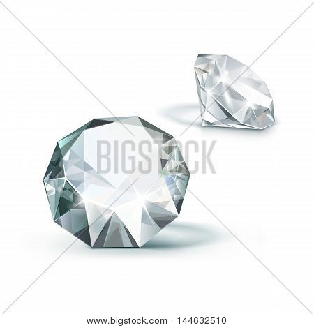 Vector White Shiny Clear Diamonds  Isolated on White Background