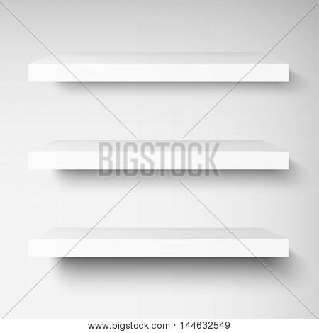 Detailed illustration of white shelves with light from the front. Illustration of shelves for your presentation. Mockup for your design, shop, exposition. Vector EPS10.