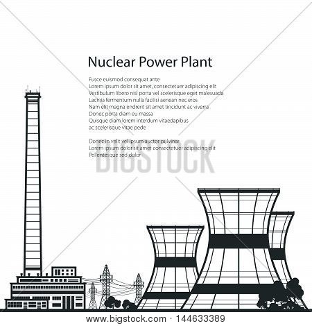 Silhouette Nuclear Power Plant , Thermal Power Station and Text, Nuclear Reactor and Power Lines, Vector Illustration