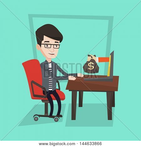 Happy businessman sitting at the table in office and a hand with bag of money coming out of his laptop. Businessman earning money from online business. Vector flat design illustration. Square layout.