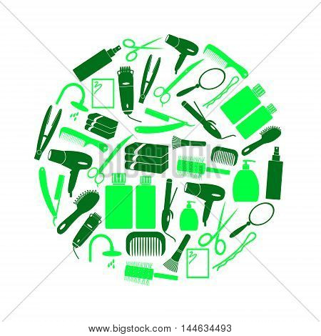 Hair Care Theme Green Color Simple Icons In Circle Eps10