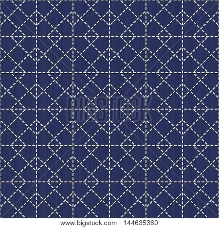 Japanese sashiko motif with rhombus. Traditional Japanese Embroidery Ornament. Seamless pattern. Abstract geometric backdrop. For decoration or printing on fabric. Monochrome.