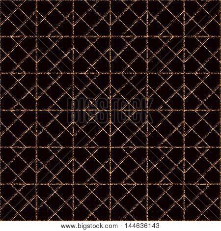 Seamless pattern based on japanese sashiko motifs. Golden color. Sasiko with rhombs. Abstract geometric backdrop.