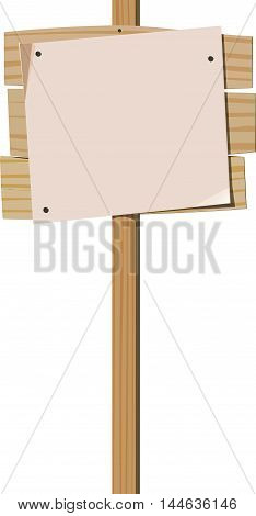 Wooden signpost with nailed blank sheet of paper