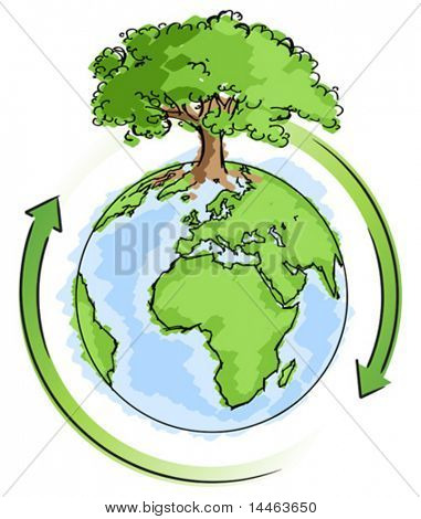 Simple earth with a tree