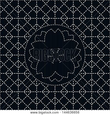 Sashiko with rhombs and sakura flower. Can be used as seamless pattern. Abstract backdrop. Traditional Japanese Embroidery Ornament. Endless background. poster