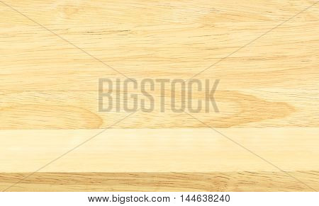 Empty beige color wood table and wood wall Mock up background for display of product.