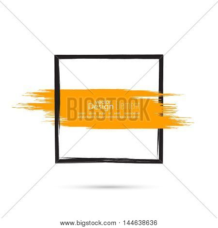 Abstract background with square banner and orange smear paint. Text box and frame. Vector hand drawn.template, layout